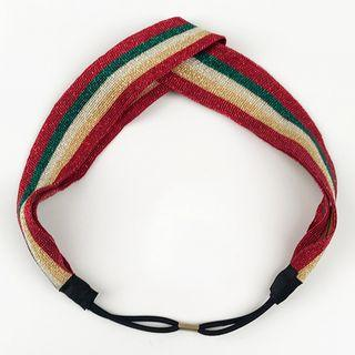 Striped Criss Cross Headband Three Stripes - Multicolor - One Size