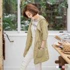 Plain Hooded Long Lapel Jacket