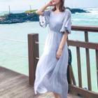 Short-sleeve Floral Trim Midi Chiffon Dress