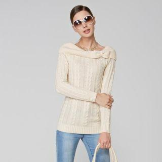 Off-shoulder Cable-knit Sweater