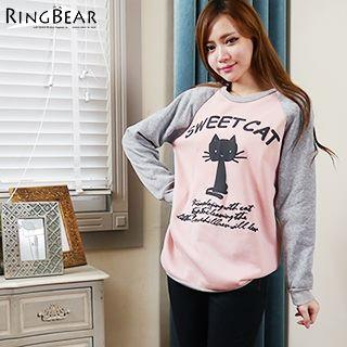 Cat Printed Fleece-lined Top