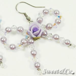 Sweetie Purple Rose Swarovski Crystal Earrings