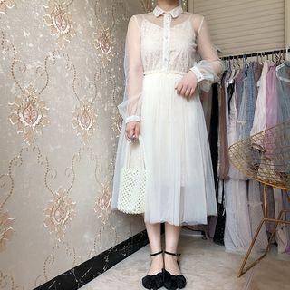 Set: Mesh Long-sleeve A-line Dress + Lace Spaghetti Strap Dress