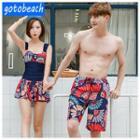 Matching Couple Print Swimdress / Men Swim Shorts