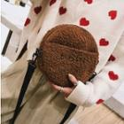 Embroidered Furry Round Crossbody Bag