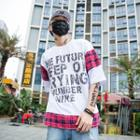 Elbow-sleeve Plaid Panel Lettering T-shirt