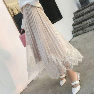 Lace Panel Midi A-line Pleated Velvet Skirt