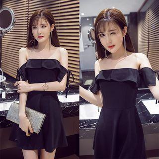 Short Sleeve Ruffled Plain Flare Dress