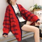 Plaid Buttoned Long Cardigan
