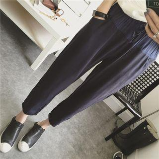 Color Panel Drawstring Waist Cropped Pants