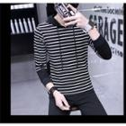Drawstring Hooded Striped Top