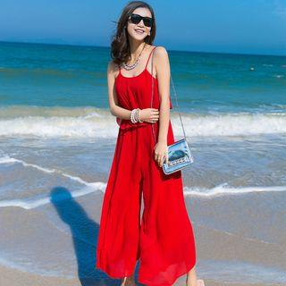 Sleeveless Spaghetti-strap Cutout-back Jumpsuit