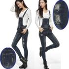 Ripped Skinny Dungaree Jeans