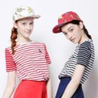 Short-sleeve Embroidered Striped T-shirt