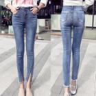 Slit Front Washed Skinny Jeans