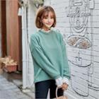 Crochet-trim Roundneck Sweater