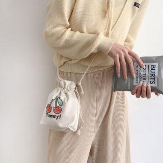 Cherry Print Crossbody Bag Khaki - One Size
