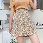 High-waist Floral Mini A-line Skirt