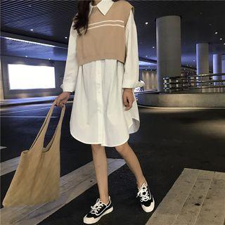 Plain Shirtdress / Striped Crop Knit Vest