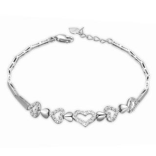 14k Italian White Gold Hearts In Polished Finished And Diamond Cut Segment Bracelet (6.5), Women Jewelry In Gift Box