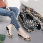 Embellished Slide Platform Sandals