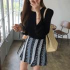 Inset Shorts Patterned Miniskirt
