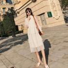 Mesh Tiered Long-sleeve Dress