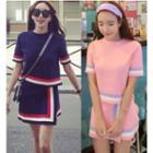 Set: Colour Block Short-sleeve Knit Top + Mini Skirt