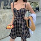Sleeveless Check A-line Dress As Shown In Figure - One Size