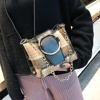 Plaid Buckled Cross Bag