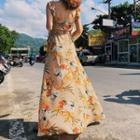 Sleeveless Floral Print A-line Maxi Dress