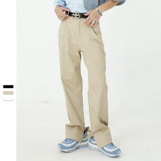 High-waist Plain Split Dress Pants