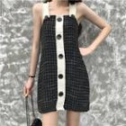 Check Tweed Sleeveless Dress
