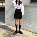 Plain Short-sleeve Shirt / Plain A-line Skirt