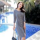 Striped Button Sheath Dress