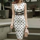 Sleeveless Cutout Dotted Sheath Dress