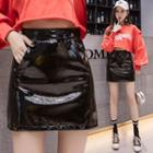 Faux Patent Leather Mini A-line Skirt