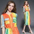 Elbow-sleeve Drawstring Printed Dress