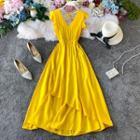 Sleeveless Ruffled Midi A-line Dress