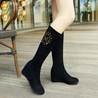 Print Wedge Tall Boots