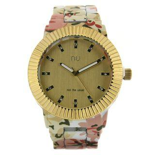 Gold And Floral Watch One Size