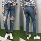 Distressed Fay Hem Jeans