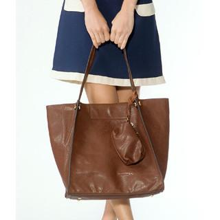 Faux Leather Tote With Pouch Brown - One Size