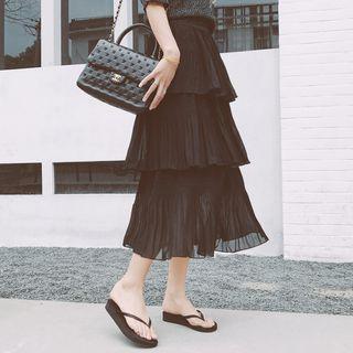 Plain Layered Chiffon Skirt