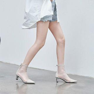 Block Heel Pointed Mesh Ankle Boots