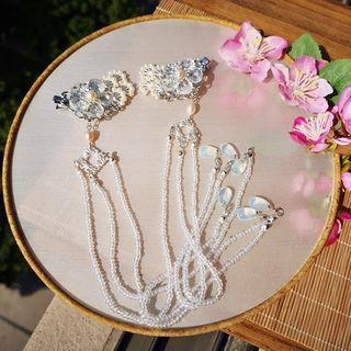 Faux Pearl Flower Tassel Hair Clip
