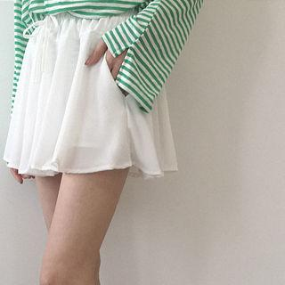 Drawstring-waist Flare Chiffon Shorts
