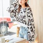 Leopard Printed Cropped Top As Shown In Figure - One Size