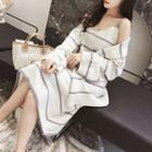 Set: Striped Open-front Cardigan + Striped Midi Tank Dress Dress - Gray & White - One Size / Cardigan - Gray & White - One Size