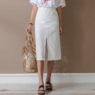 Slit-front Striped Midi Skirt